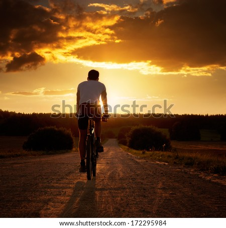 Rear View of a Young Man Riding a Bicycle at Sunset. Healthy Lifestyle Concept. Copyspace. - stock photo
