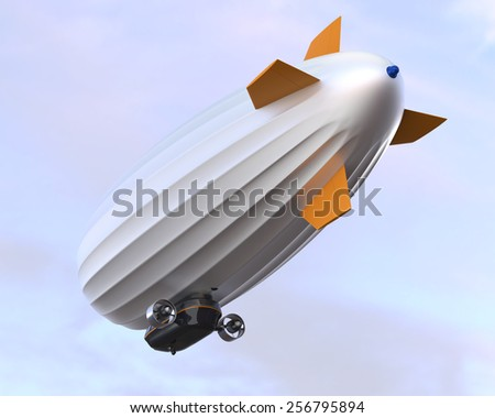 Rear view of airship in the blue sky - stock photo