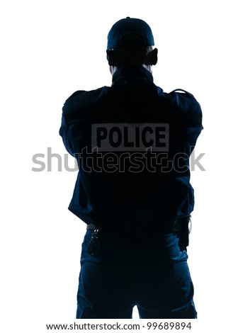 Rear view of an afro American police officer standing isolated on white isolated background - stock photo