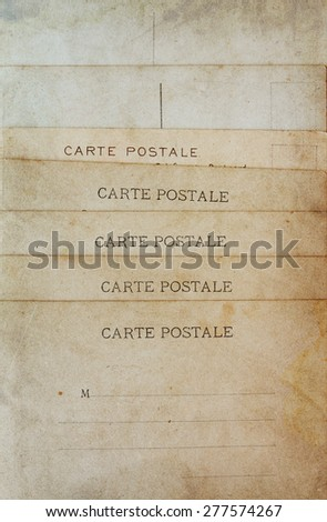 rear view of ancient post cards