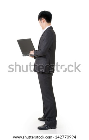 Rear view of Asian business man use laptop, full length portrait isolated on white background. - stock photo