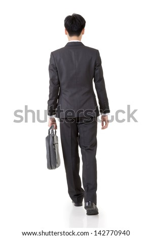 Rear view of Asian business man walk, full length portrait isolated on white background. - stock photo