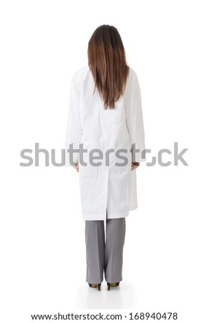 Rear view of Asian medical doctor, full length portrait isolated on white background. - stock photo