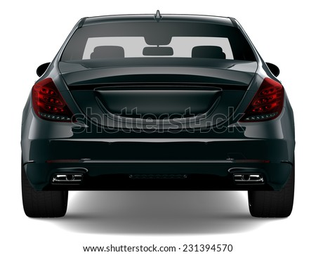 Rear view of black car isolated on white - stock photo