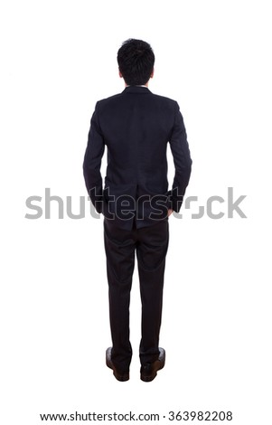 Rear view of business man , full length isolated on white background - stock photo
