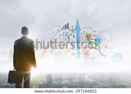 Rear view of businessman looking at business marketing strategy