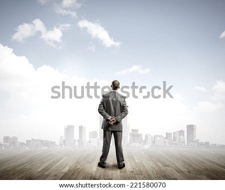 Rear view of businessman looking at city from distance - stock photo
