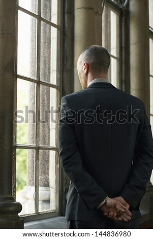 Rear view of businessman looking through window - stock photo