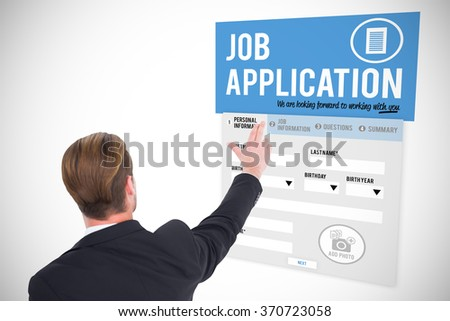 Rear view of businessman pointing with his fingers against white background with vignette - stock photo