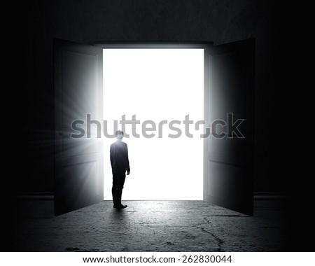 Rear view of businessman standing in light of opened door - stock photo
