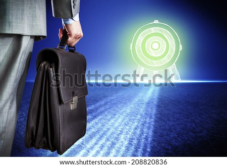 rear view businessman briefcase target stock photo royalty free