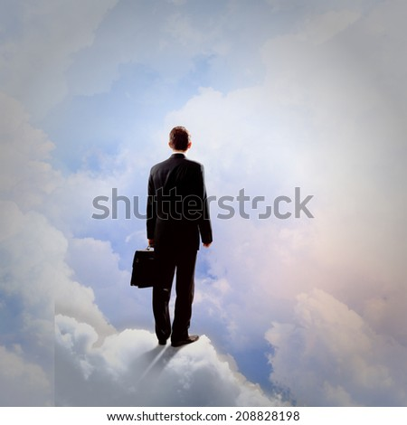 Rear view of businessman with suitcase standing on cloud