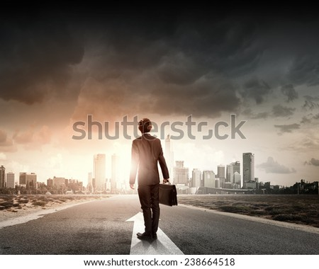 Rear view of businessman with suitcase standing on road - stock photo