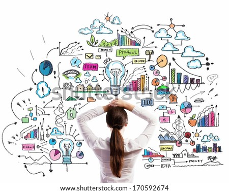 Rear view of businesswoman looking thoughtfully at business strategy sketch - stock photo