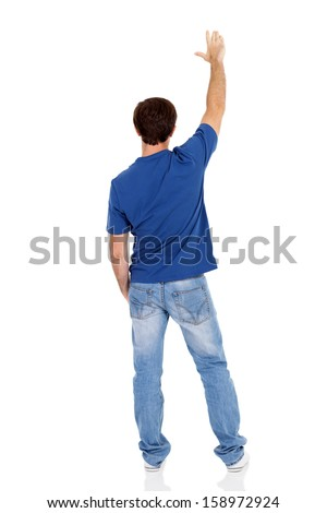 rear view of caucasian man isolated on white background - stock photo