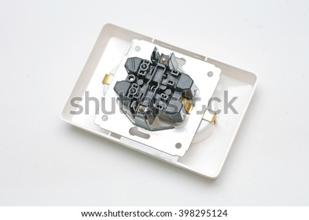 Rear view of electric outlet on white background - stock photo