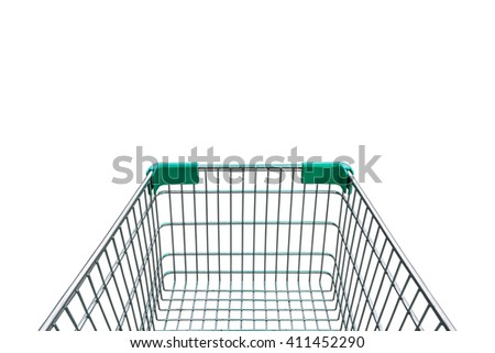 rear view of empty shopping cart isolated on white background