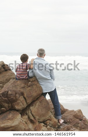 Rear view of father and son on rocks looking at sea view at beach against clear sky