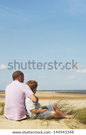 Rear view of father and son sitting on sand and looking at view on beach - stock photo