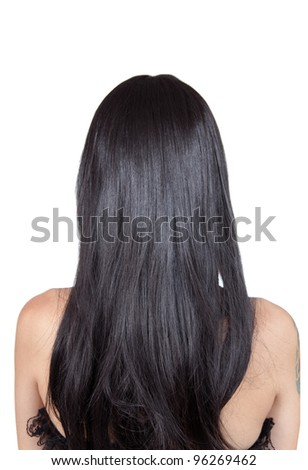 Rear view of girl with black silky hair, isolated on white background