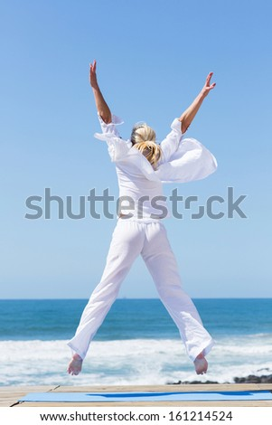 rear view of happy woman jumping on beach - stock photo