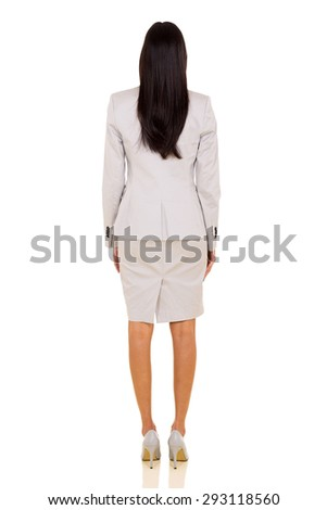 rear view of indian businesswoman isolated on white background - stock photo