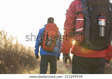Rear view of male backpackers walking in field - stock photo