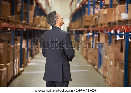 Rear View Of Manager In Warehouse - stock photo