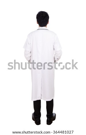 Rear view of medical doctor, full length isolated on white background.