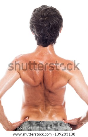 Rear view of naked man, isolated on white background - stock photo