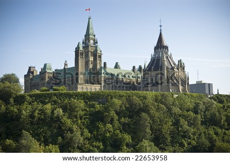 Rear view of Parliament Hill and Canadian Parliament Buildings
