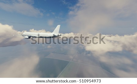 Rear view of passenger airliner flying high in the sky above countryside among cumulus clouds at daytime. 3D illustration was done from my own 3D rendering file.
