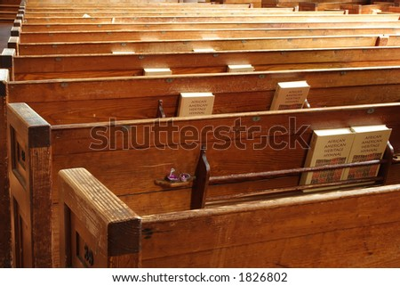 rear view of pews - stock photo