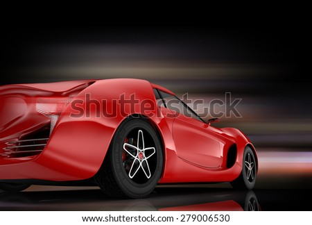 Rear view of red sports car with colorful glow effect. Original design. 3D rendering image. - stock photo
