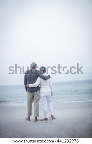 Rear view of senior couple embracing on beach on a sunny day - stock photo