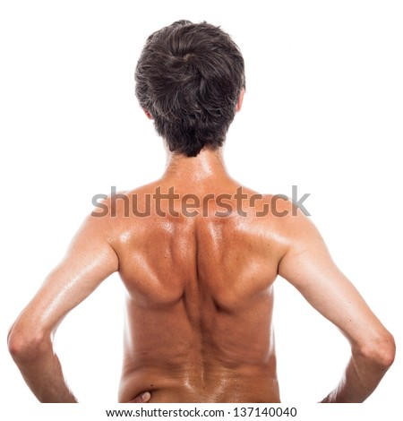 Rear view of shirtless man, isolated on white background - stock photo