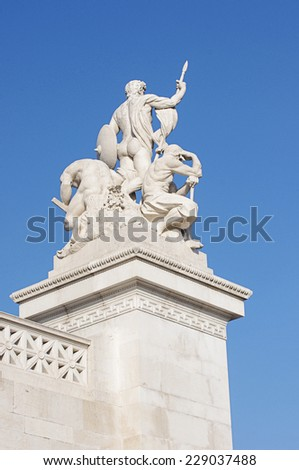 Rear view of statues in a monument to Victor Emmanuel II. Piazza Venezia, Rome, Italy - stock photo