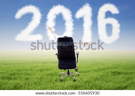 Rear view of successful businesswoman sitting on armchair and raise hands up while looking at cloud shaped numbers 2016 on the meadow - stock photo