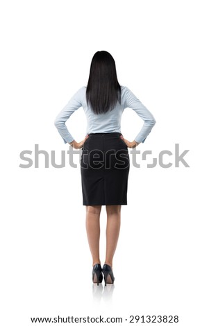 Rear view of the business woman in formal clothes. isolated. - stock photo