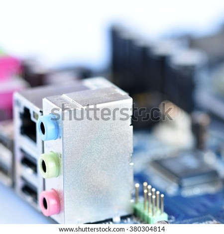Rear view of the connectors on the motherboard of a personal computer. Isolated on a clean white background. Concept - electronics, internet and modern technology. - stock photo