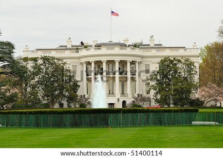 Rear view of the White House, Washington, DC - stock photo