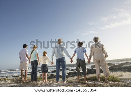 Rear view of three generation family holding hands on seashore - stock photo
