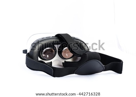 Rear view of VR Glasses or Virtual Reality Headset use with smartphone. VR is an immersive experience in which your head movements are tracked in 3d world, making it ideally suited to game and movie.