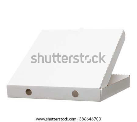 rear view of white pizza box. photo on white background isolated with clipping path