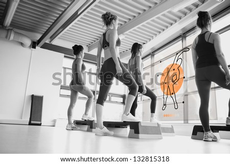 Rear view of women doing exercise with futuristic interface in black and white