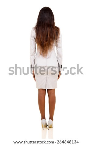 rear view of young african businesswoman isolated on white  - stock photo