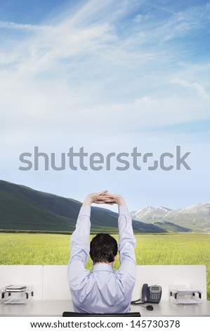Rear view of young businessman stretching at office desk on field against cloudy sky - stock photo