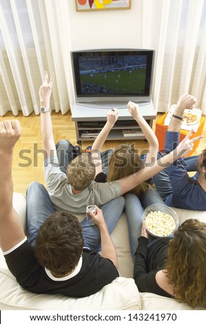 Rear view of young friends watching football match and celebrating in living room - stock photo