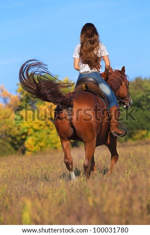 Rear view of young woman in blue jeans riding a horse - stock photo