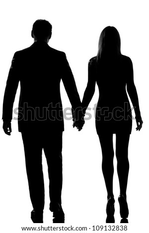 rear view one lovers caucasian couple man and woman walking hand in hand in studio silhouette isolated on white background - stock photo